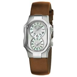 Philip Stein Women's 'Signature' Bronze Leather Strap Dual Time Watch