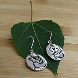 Sterling Silver Ganesh Hindu God Earrings (India)