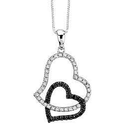 Auriya 14k Gold 1/3ct TDW Black and White Diamond Heart Necklace (G-H, I1-I2)