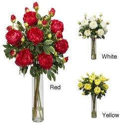 Peony with Cylinder Vase Silk Flower Arrangement