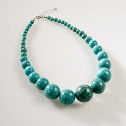 'Viva' Green Wood Bead Necklace