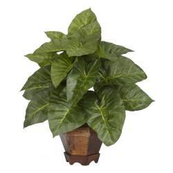Taro with Vase Silk Plant