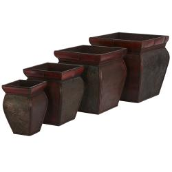 Square Planters with Rim (Set of 4)