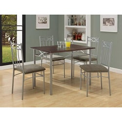 Cappuccino/ Silver Metal 5-piece Dining Set