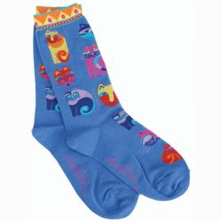Laurel Burch Women's Feline Festival Blue Socks