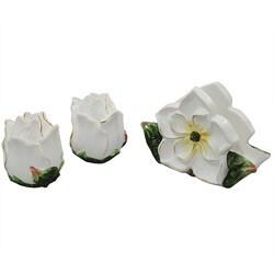Gardenia Flower Collection Deluxe Napkin Holder, Salt and Pepper Set