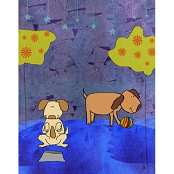 Ankan 'Dogs playing' Gallery-wrapped Canvas Art