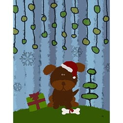 Ankan 'Christmas Dog' Gallery-wrapped Canvas Art