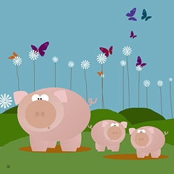 Ankan 'Pig Family' Gallery-wrapped Canvas Art