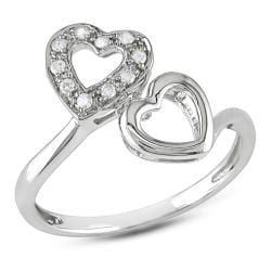 Miadora 10k White Gold 1/10ct TDW Diamond Heart Ring (G-H, I2-I3)
