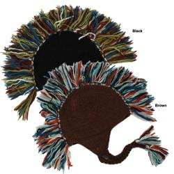 Unisex Multicolor 100-percent Wool Fleece-lined Mohawk Hat (Nepal)