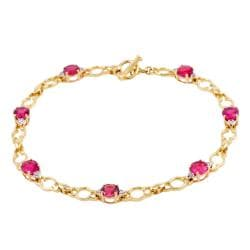Michael Valitutti 14k Gold Rubellite and 1/6ct TDW Diamond Bracelet (I-J, I1-I2)