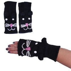 Handwoven Black Fully Lined Cat-face Wool Arm Warmers (Nepal)