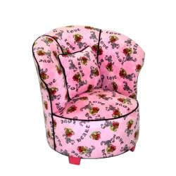 Magical Harmony Kids Minky Pink Heart Tattoo Tulip Chair