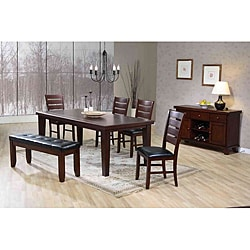 Dark Oak Leather-look Side Chairs (Set of 2)