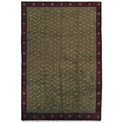 Nepalese Hand-Knotted Green Kelp Wool Rug (6 x 9)