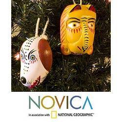 Set of 2 Cedar Wood 'Lion and Dog Dance Masks' Ornaments (Guatemala)
