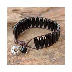 Silver 'Perfection' Onyx Wristband Bracelet (Thailand)