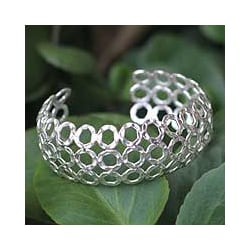 Silver 'Concave Bubbles' Cuff Bracelet (Thailand)