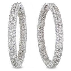 18k White Gold 8 2/5ct TDW Diamond Hoop Earrings (G-H, SI1-SI2)