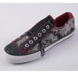 Ed Hardy Women's Lowrise Graphic Print Bling Black Slip-on Sneakers