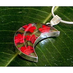 Sterling Silver Red Flower Half-Moon Necklace (Mexico)