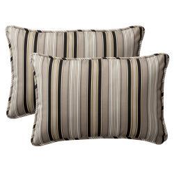 Pillow Perfect Decorative Black/ Beige Striped Outdoor Toss Pillows (Set of 2) 8515427