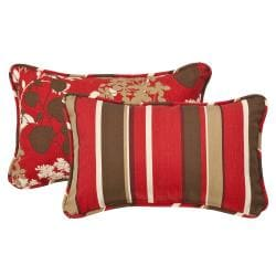 Pillow Perfect Decorative Reversible Red/Brown Floral/Striped Outdoor Toss Pillows (Set of 2) 8515497