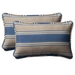 Pillow Perfect Decorative Blue/Tan Striped Weather-Resistant Outdoor Toss Pillows (Set of Two) 8515503