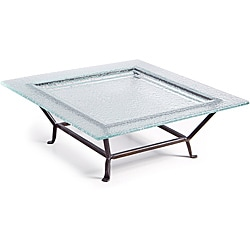 Large Square Textured Glass Plate on Raised Iron Stand