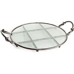 Round Textured Glass Platter on Iron Stand