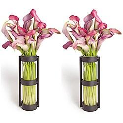 Metal Stand Glass Cylinder Vases (Set of 2) 8516047