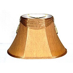 French Beige Shantung Silk Oval Shade with Tassels