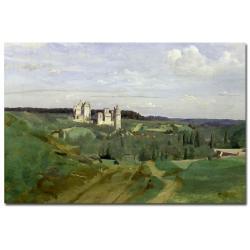 Jean Baptiste Corot 'View of Chateau de Pierrefonds 1840' Canvas Art