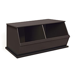 Two Bin Stackable Storage Cubby in Espresso