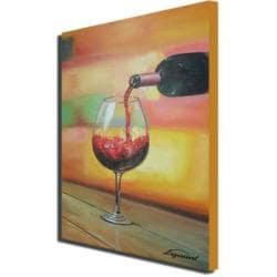 Sophia Lazarri 'Half Full' Hand-painted Canvas Art