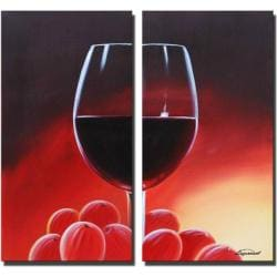Sophia Lazarri 'Single Drink' Hand-painted Canvas Art