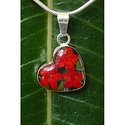 Sterling Silver Miniature Red Flowers Small Heart Necklace (Mexico)