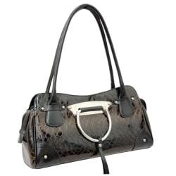 Black Dasein Snakeskin Embossed Patent Faux Leather Shoulder Bag