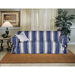 Cotton Blue Stripe Loveseat 1-piece Slipcover (As Is Item)