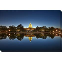 US Capitol at Night Oversized Gallery Wrapped Canvas