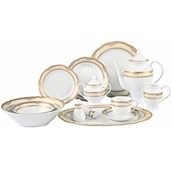 Lorenzo Isabella Porcelain 57 pc Dinnerware Set (Gold Border) 8539117