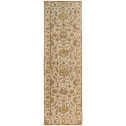 Hand-tufted Pennine Ivory Floral Border Wool Rug (2'6 x 8')