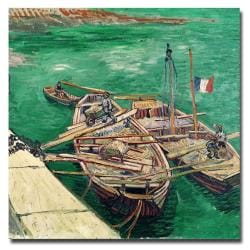 Vincent van Gogh 'Landing Stage with Boats 1888' Small Canvas Art