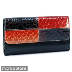 Faux Leather Embossed Snake Skin Checkbook Wallet with Seven Card Slots
