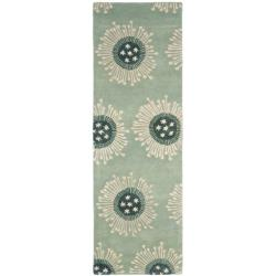 Safavieh Handmade Celebrations Light Blue Grey N. Z. Wool Rug (2'6 x 8')