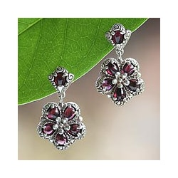 Sterling Silver 'Red Frangipani' Garnet Flower Earrings (Indonesia)