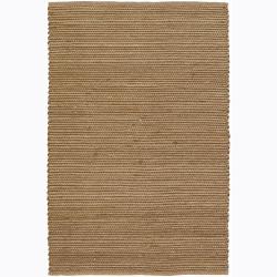 Hand-woven Mandara Tan Flat-weave Rug (5' x 7'6)