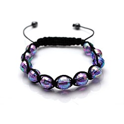 Purple Acrylic-bead Disco Ball Macrame Bangle Bracelet