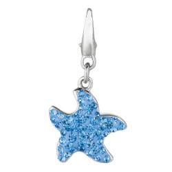 Sterling Silver Blue Crystal Starfish Charm
